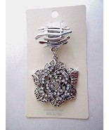 Scarf Ring Slider Rose Pendant Silver Tone With Clear Stones New In Package - $17.77