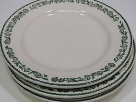 "3 Buffalo China Kenmore Green Floral Rim Dinner Plates 9"" Diner Restaurant - $34.64"
