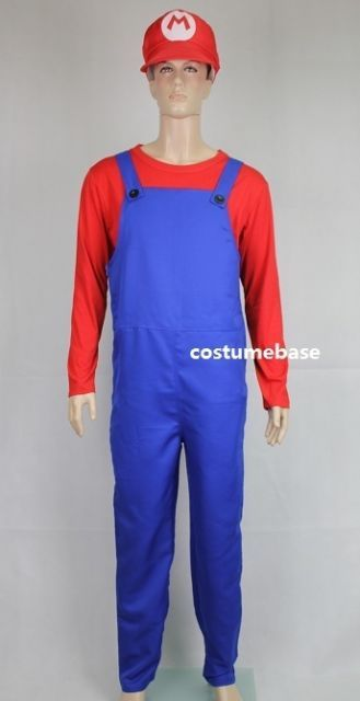 Super Mario Brothers Deluxe Fancy Dress Outfit Adult Costume Jumpsuit Hat Shirt