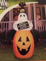 New Halloween 7 Foot Gemmy Pumpkin/Ghost/Cat Stacker Airblown/Inflatable... - $69.29