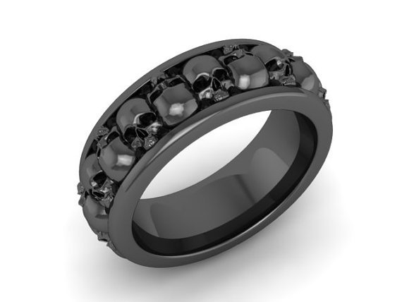 Skull Wedding Ring Black Platinum Over Silver