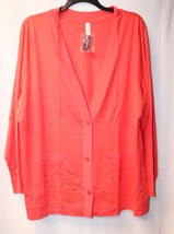 NEW CACIQUE WOMENS PLUS SIZE 4X 26/28 CORAL SLEEP BED SHIRT CARDIGAN W P... - $19.34