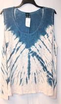 New Womens Plus Size 3X Blue Tie Die Hacci Burnout Light Weight Tank Top Shirt - $16.43
