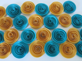 paper flowers set, teal and gold roses 25 piece... - $20.00