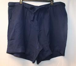 NEW LANE BRYANT WOMENS PLUS SIZE 26W 28W NAVY BLUE LINEN SHORTS SHORT W ... - $16.44