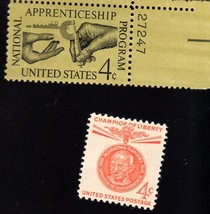 Stamps - U. S. Postage 2 different 4 cent stamps - Apprenticeship & Cham... - $1.00