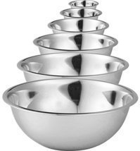Stainless Steel Mixing Bowls by Finedine Set of 6 Polished Mirror Finish... - $34.00