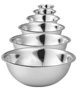 Stainless Steel Mixing Bowls by Finedine Set of 6 Polished Mirror Finish... - $36.45