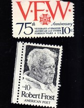 Stamps - U. S. Postage 2 - 10 cent stamps 1- VFW & 1- Robert Frost - $1.50
