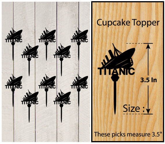Wedding,Birthday Cake topper,Cupcake topper,silhouette TITANIC Package : 11 pcs