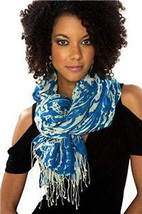 Sir Alistair Rai Satisfaction Wrap Scarf Turquoise/Wht - $123.52 CAD