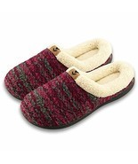 Joan Vass Women Lined Sweater Memory Slippers Medium/7.5-8 BM US, Wine - £20.68 GBP