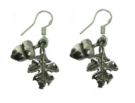 NICE Sterling Silver Earrings Autumn Fall Squirrel Acorn Leaf Wicca Paga... - $30.03