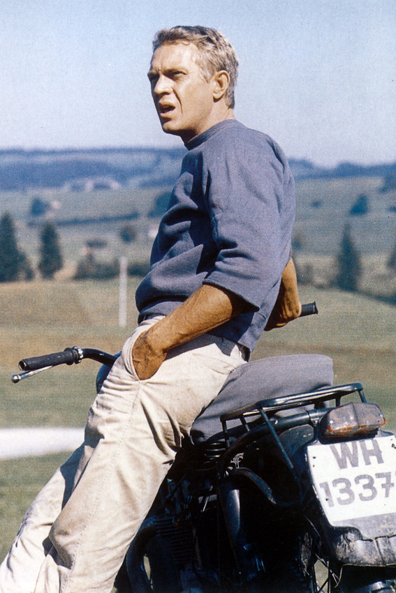 Primary image for Steve McQueen as Hilts withTriumph bike The Great Escape 18x24 Poster