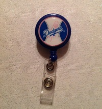 Mlb Los Angeles Dodgers Badge Reel Id Holder Handmade Blue alligator cli... - $6.95