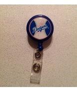 Mlb Los Angeles Dodgers Badge Reel Id Holder Handmade Blue alligator cli... - $6.95