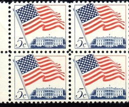 Stamps U. S. Postage -Block of 4 Stamps 5 cent stamps (Flag & Whitehouse... - $1.00