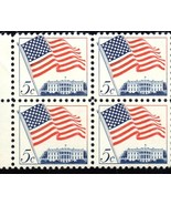 Stamps U. S. Postage -Block of 4 Stamps 5 cent stamps (Flag & Whitehouse... - $2.50