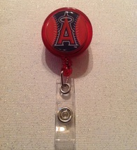 Mlb Los Angeles Angels Badge Reel Id Holder Handmade Red alligator clip new - $6.95