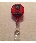 Mlb Los Angeles Angels Badge Reel Id Holder Handmade Red alligator clip new - $6.95