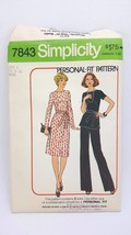 Vintage SIMPLICITY Misses Dress / Top & Pants Size 14 & 16  #7843 from 1976 - $7.69