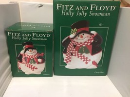 Fitz Floyd Holly Jolly Snowman Canape Dish And Lided Box Set Christmas H... - $37.39