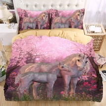 GORGEOUS 3D Pink Mom/Baby Unicorn Design Twin Full Queen King Duvet Cove... - $89.95+