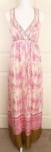 Ann Taylor Loft 100% Silk Ikat Criss Cross Back Aztec Pink Lined Maxi Dr... - $27.95