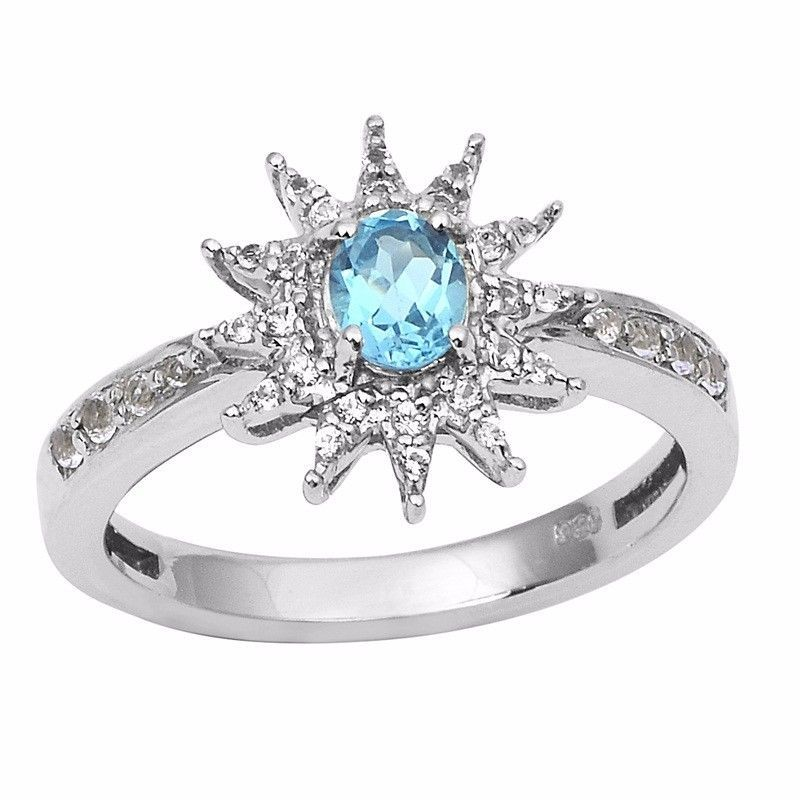 Party wear Unique Designer Women Ring 0.45 Ct Blue Topaz Stone Ring Sz6 SHRI0846