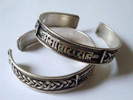 tibetan miao silver buddhist OM mantras bangle open cuff ethnic tribal b... - $12.90