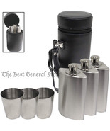 7pc Flask Set with Storage Case Stainless 6 oz Liquor Flasks & Three Sho... - $32.99