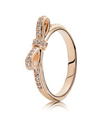 Rose Gold Plated Sparking Bow Ring with Clear Zirconia For Women QJCB627 - $21.98