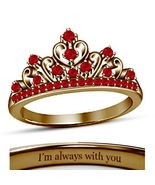 18K Rose Gold Fn. Round Cut Red Ruby Heart Disney Princess Crown Engagem... - $67.99