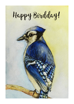 "Happy Birthday Card - Blue Jay Says ""Happy Birdday!""  - $5.00"