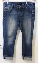 White house black market WHBM women capri cropped jeans denim distress noir 6 - $26.73