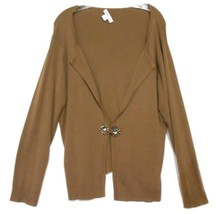 Coldwater Creek Brown Size XL(18)  Cotton Blend Sweater Jewelled Closure - $13.99