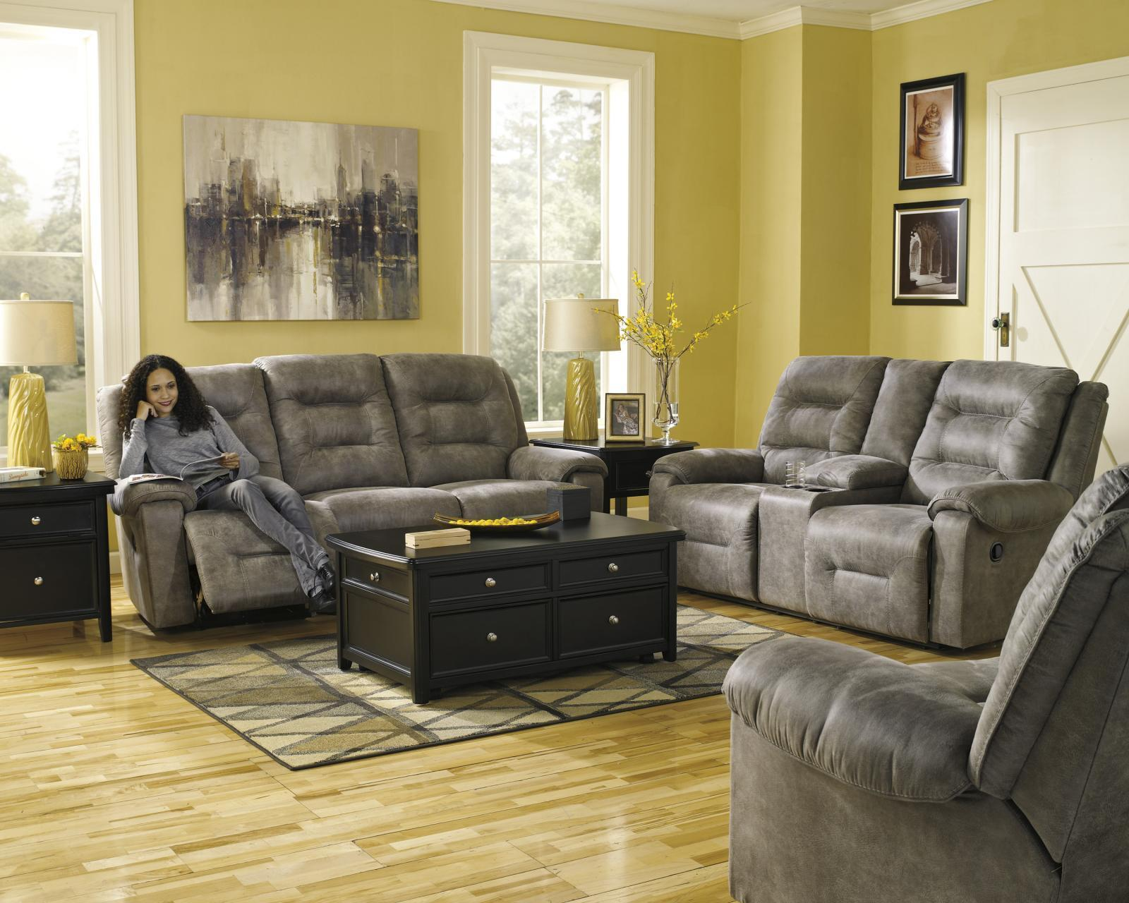 Ashley Rotation 3 Piece Living Room Set in Smoke with Power Contemporary Style