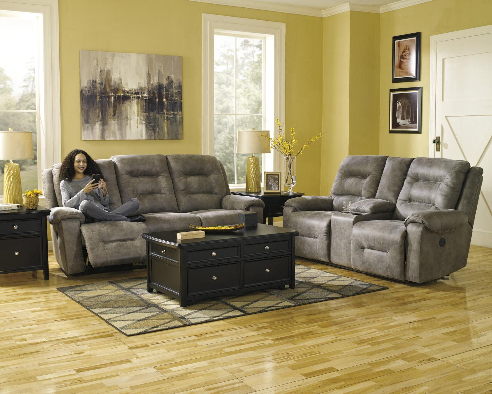 Ashley Rotation 2 Piece Living Room Set in Smoke with Power Contemporary Style