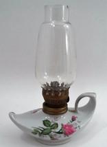 Nice 1960s Moss Rose Miniature Student Genie Aladdin Hurricane Oil Lamp ... - $13.32