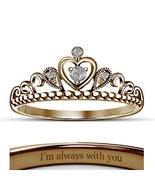 18K Rose Gold Fn CZ Diamond Milgrain Heart Disney Princess Crown Engagem... - $55.99