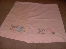 hand embroidered pillow case set - $5.00