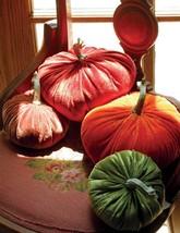 Pretty set of 4 Velvet Round  Thanksgiving  Fall Pumpkins Pillows - $54.45