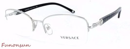 Versace Women's Eyeglasses VE MOD 1193 1000 Silver Black Semi-Rimless Re... - $101.85