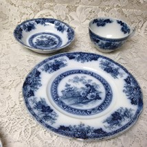 Antique, Rare, Yeddo, England, Variant Flow Blue Willow Trio Set - $37.95