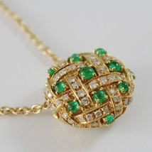 18k YELLOW GOLD NECKLACE WITH CABOCHON GREEN EMERALD AND DIAMONDS BUTTON PENDANT