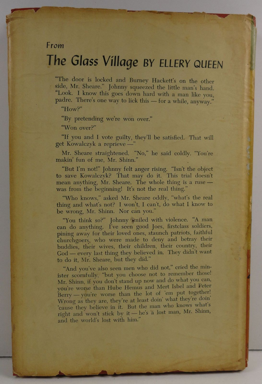 The Glass Village by Ellery Queen 1954 Little Brown HC/DJ