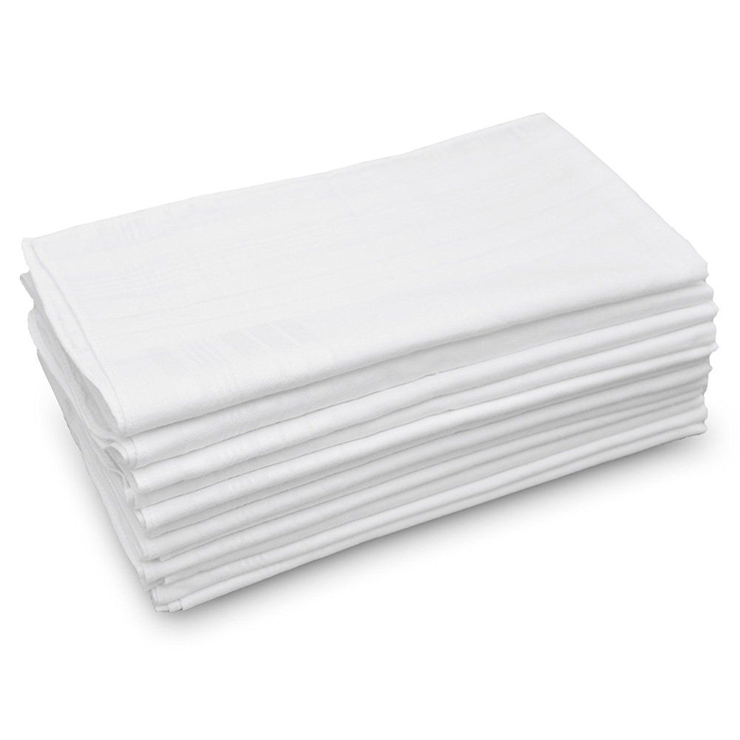 """Classic Mens Handkerchiefs 100% Cotton Solid White with Stripe 17"""" Large 12pc image 2"""