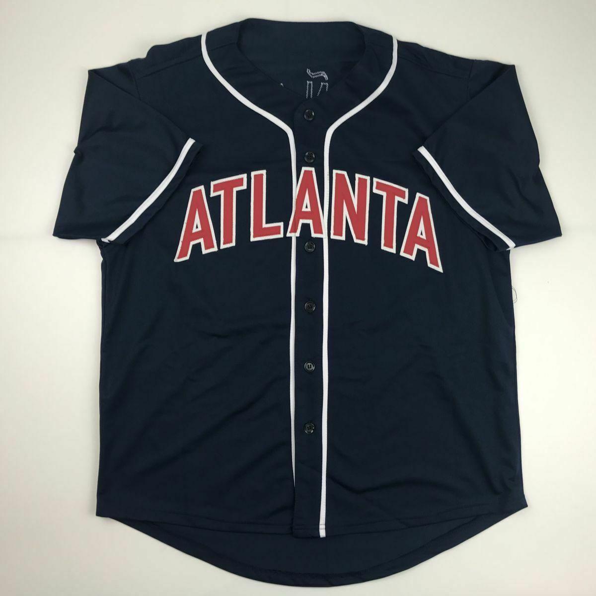 Autographed/Signed RONALD ACUNA JR. Atlanta Blue Baseball Jersey JSA COA Auto image 4