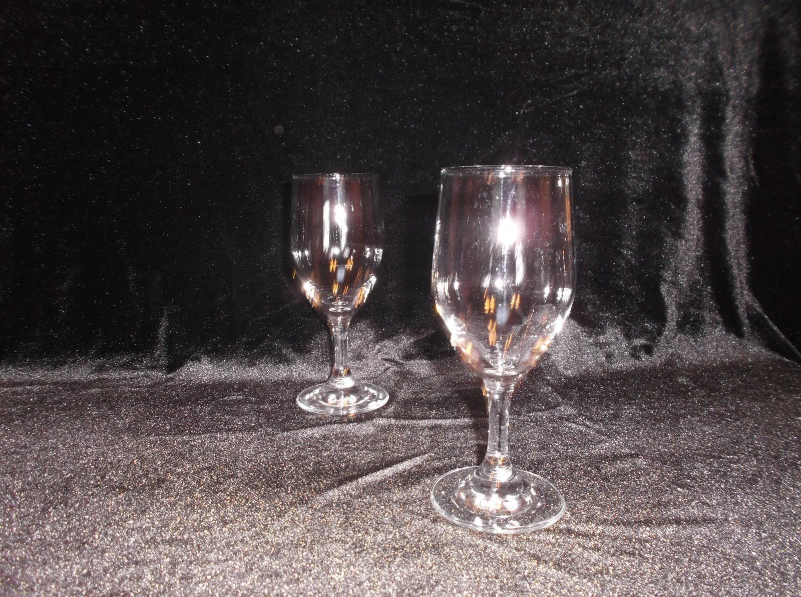 Two clear glass Restaurant Style Wine glasses