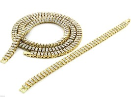 """Gold/ Silver Plated 2 Row 30"""" Chain & Bracelet & Gold Plated 1 Row 20"""" 3... - $128.70"""